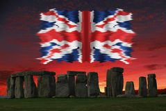 The Union Jack, or Union Flag, stonehenge stock photography