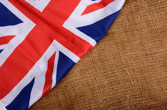 Union Jack United King Flag Banner on Jute Texture Royalty Free Stock Image