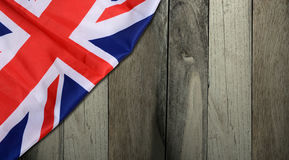 Union Jack United Kingdom Flag with Wooden Background Banner Royalty Free Stock Photography