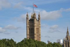 Union Jack Victoria Tower Palace Westminster Stock Photos