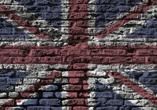 Union Jack wall. Section of old brick wall foverlaid with Union Jack flag royalty free stock images