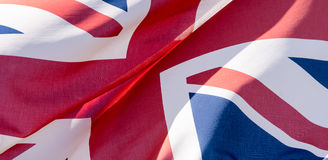 Union Jack Waving Flag N Close Up. Shallow Depth of Field Background Ideas United Kingdom of Great Britain and Northern Ireland Royalty Free Stock Photos