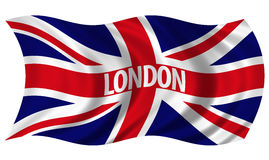 Union Jack witrh London Text Billowing in Wind. The Flag of the United Kingdom on white background billowing in the wind Royalty Free Stock Image