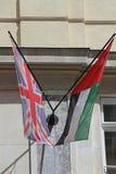 Union Jack y UAE fotos de archivo libres de regalías