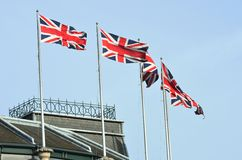 Union Jacks on Building Stock Photo