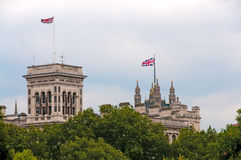 Union Jacks flags on buildings Stock Photography