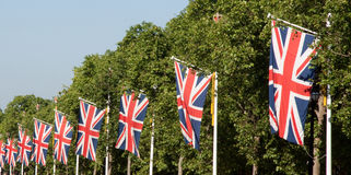 Union jacks on London street Stock Photography