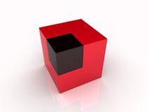 Union of large and small cubes Stock Image