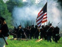 Union line preparing to fire, Royalty Free Stock Photos