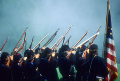 Union line preparing to volley fire Royalty Free Stock Photo