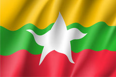 Union of Myanmar or Burma flag. Original and simple Union of Myanmar or Burma waving flag isolated vector in official colors and Proportion CorrectlyThe Myanmar Stock Images