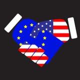 Union och USA för symbolteckenhandskakning europeisk Arkivfoto