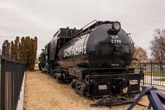 Union Pacific antique engine number 2295 Big Mike. On display at the Boise Depot stock image