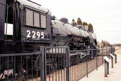 Union Pacific antique engine number 2295 Big Mike. On display at the Boise Depot royalty free stock images
