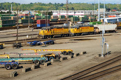 Union Pacific railroad yard. Dual locomotives work together in the rail yard Royalty Free Stock Photos
