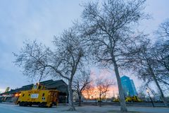 Union Pacific train and tree. At the old town Sacramento Stock Photography