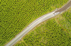 Union Between Paved And Unpaved Road Drone Aerial Royalty Free Stock Images