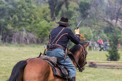 Union Scout. Civil War era soldiers in battle at the Dog Island reenactment in Red Bluff, California stock image