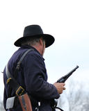 Union Soldier Civil War. Reenactment with gun drawn Royalty Free Stock Images