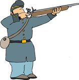 Union soldier shooting rifle. This illustration depicts an American civil war soldier shooting a rifle Royalty Free Stock Photography
