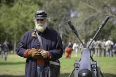 Union Soldier. Standing next to a cannon during the annual Civil War Days Living History Event in Huntington Beach Central Park Royalty Free Stock Photo