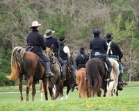 Union Soldiers - Civil War Reenactment. Civil War Calvary  Union Soldiers on horseback reenactment Royalty Free Stock Image