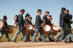 Union soldiers drumming Royalty Free Stock Photo