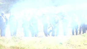 Union soldiers firing line. In battle stock footage