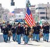 Union soldiers in full u niform. Union soldiers with USA flag playing fife and drums  Hartford Connecticut saint patrick day parade 2016 Stock Images
