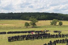 Union soldiers at Gettysburg. A long line of Union soldiers take to the battlefield at the 150th anniversary of the battle of Gettysburg, Pennsylvania Stock Images