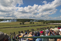Union soldiers at Gettysburg. Soldiers and spectators at the 150th anniversary of the battle of Gettysburg, Pennsylvania Stock Image