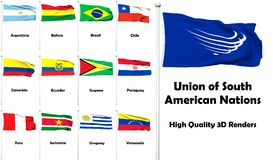 Union of South American Nations. High quality and high resolution 3D renders - Members of the Union of South American Nations royalty free illustration