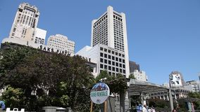 Union Square bike rentals. San Francisco, California, United States - August 17, 2016: bike rentals in Union Square, popular landmark of San Francisco in Market stock video