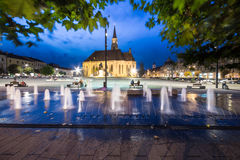 Union Square Cluj. Image showing the main square in Cluj, Union Square, with it's famous landmark, the Catholic Church, at night royalty free stock images