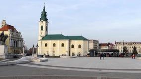 Union Square con los edificios históricos, Oradea, Rumania metrajes