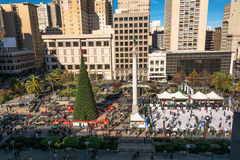 Union Square in Kerstmistijd in San Francisco Stock Afbeelding