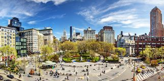 Union Square New York City. Union Square during early spring on April 17, 2013 in New York, NY. The square's name represents the union of the two principal Stock Image