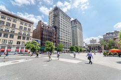 Union Square. NEW YORK CITY - JUL 22: Union Square on July 22, 2014 in New York. The square's name represents the union of the two principal thoroughfares Stock Images