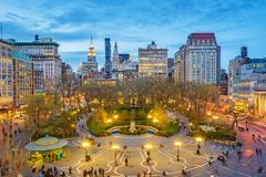 Union Square New York City. New York, New York, USA cityscape over Union Square in Lower Manhattan at twilight royalty free stock images