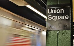 Union Square New York City Subway Underground Train Arriving at Downtown NYC Station MTA royalty free stock photos