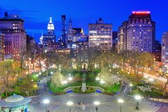 Union Square New York City. Union Square in New York, New York, USA. The Commissioners' Plan of 1811 created such an awkward angle at the location that a square Stock Image