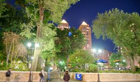 Union Square at night, New York City.  Royalty Free Stock Photography