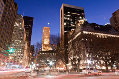 Union Square at Night New York City. The Union Square with its winter leafless trees and lights at night Royalty Free Stock Photography