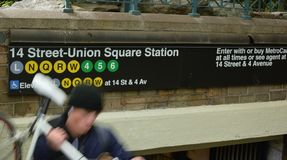 Union Square NYC Sign New York City People Street Trendy Busy Manhattan stock photography