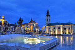 Union square in Oradea, Romania. Union square (Piata Unirii) seen at the blue hour in Oradea, Romania Royalty Free Stock Photos