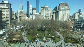 Union Square på Sunny Sunday Morning i vår i Manhattan, New York, NY Royaltyfria Foton