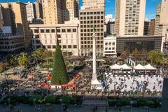 Union Square på jultid i San Francisco Fotografering för Bildbyråer