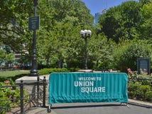 Union Square Park Sign Tourism New York City Shopping Travel Tourism stock images