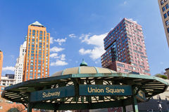 Union Square Park Subway Entrance in NYC. NEW YORK CITY - Subway entrance in Union Square Park Royalty Free Stock Photos