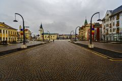 Union square Piata Unirii seen at the rainy day in Oradea, Rom Royalty Free Stock Image